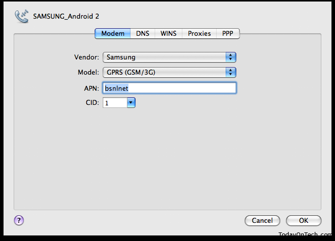 samsung galaxy s modem settings mac