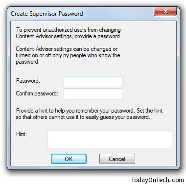 create supervisor password