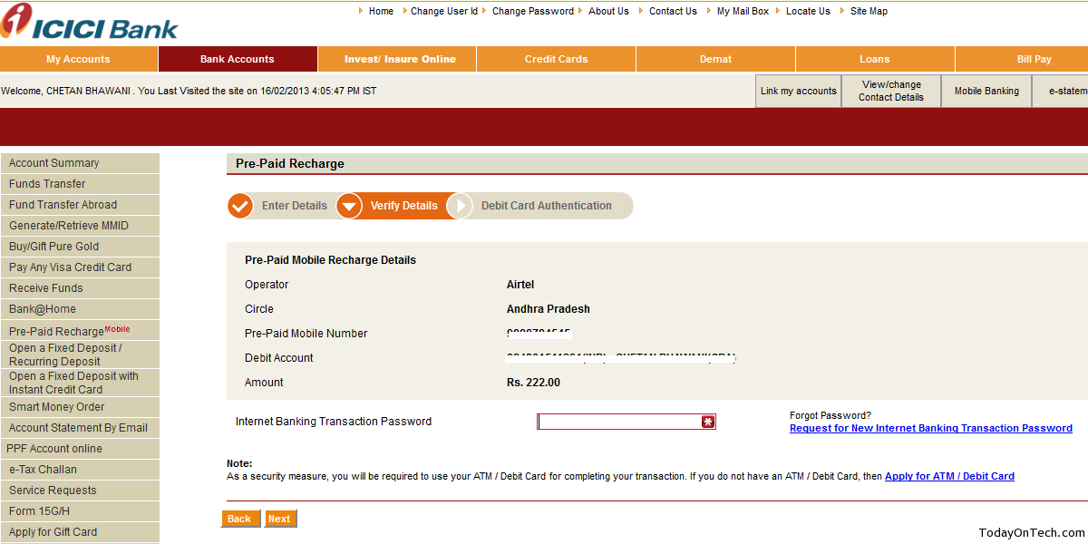 How To Recharge Your Mobile Using Icici Internet Banking