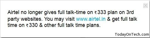 Brilliant airtel full talktime apologise